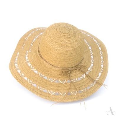 80fbd3c49 DUŻY kapelusz SŁOMKOWY plażowy napis litery cekiny 7324372895 ...