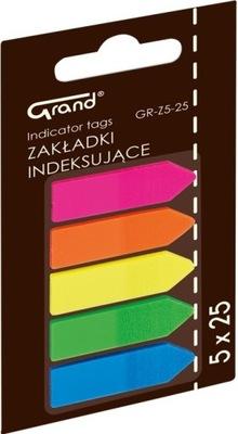 Zakładki indeksujące GRAND folia 12x45mm 5x25szt