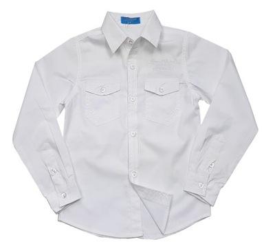 Koszula chłopięca wizytowa biała krótki rękaw 134 7231605841  JTemC