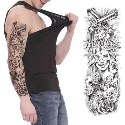 R35 Tatuaż Zmywalny Tymczasowy Rękaw Feniks Drzewo