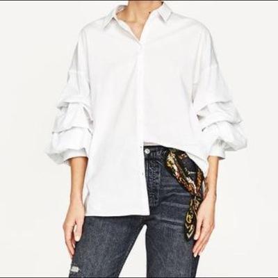 zara biała koszula drapowane rękawy