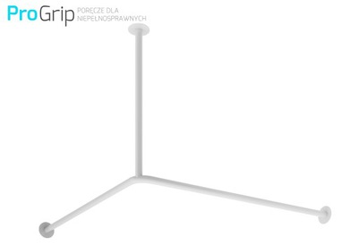 Držiak, vytiahnuť sprchový záves 90x90 cm biele