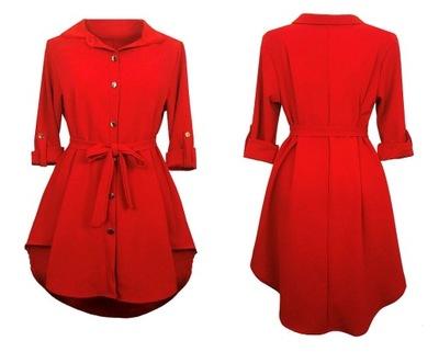 SUKIENKA SZMIZJERKA asymetryczna koszulowa RED