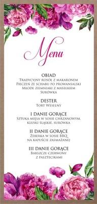 Menu ślubne weselne karta dań EKO