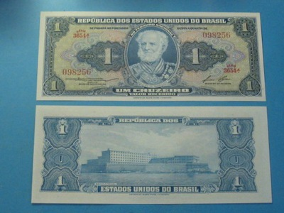Бразилия Банкнота 1 Крузейру-ду-1954-Пятьдесят восемь UNC P-Сто пятьдесят