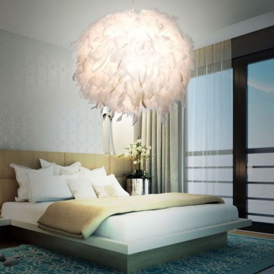 Лампа подвесной светильник пера гламур шар белая с перьями 50см