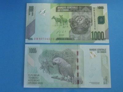 Конго Банкнота 1000 Francs 2013 UNC P-101b Попугай