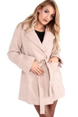 Płaszcz damski jesień wiązany w talii narzutka