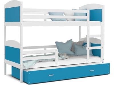 Poschodová posteľ MATÚŠ 3 biele modré 190x80