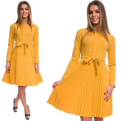 b6330238d74c87 Rozkloszowana żółta plisowana sukienka L - 6627470628 - oficjalne ...
