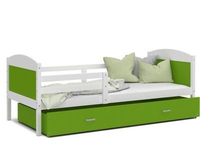 Detská postieľka MATÚŠ P biela zelená 190x80
