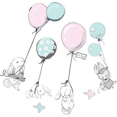 наклейки для детей на стену кролики воздушные шары, горы