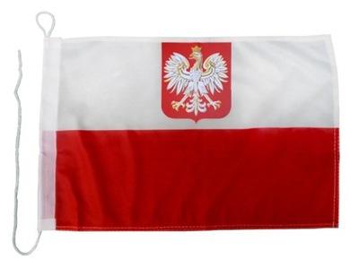 BANDERA FLAGA POLSKA 30x50cm NA JACHT - POLIESTER