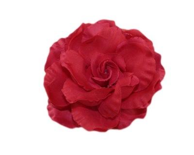-MARGUT- Spinka broszka Kwiat Róża tiul czerwona