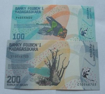 ZESTAW BANKNOTÓW NOWY MADAGASKAR Z PACZKI BANKOWEJ