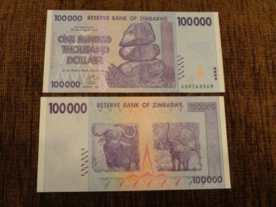 301.ZIMBABWE 100 000 DOLARÓW UNC
