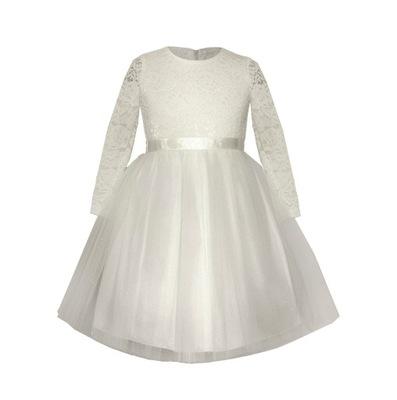 be3d56ee5b ecru sukienka z tiulem 98 104 - 7166600286 - oficjalne archiwum allegro