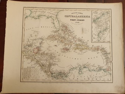 Антиквариат -карта Neuste Вкладку фон Centralamerica 1849