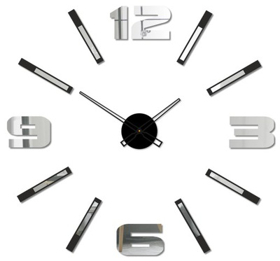 современный БОЛЬШОЙ часы на стену ЗЕРКАЛО DIY 3D