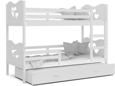 Poschodové postele 190x80 3 MAX white white + matrac