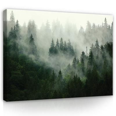 Картина на холсте ЛЕС В ТУМАНЕ деревья, природа 100x70