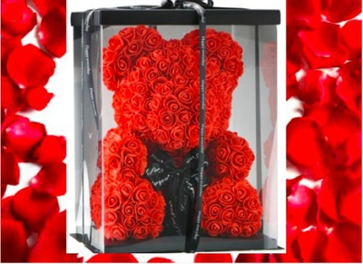 Medveď ruží 40 cm + GIFTBOX + okvetné LÍSTKY RUŽE MEDVEĎ