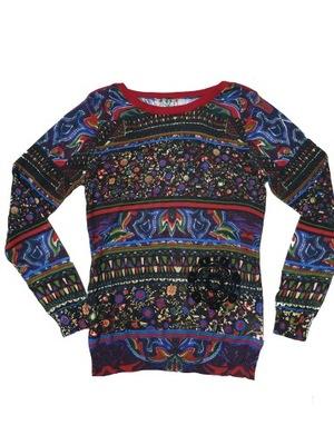 DESIGUAL XL 42 sweter bluzka malowany 70%
