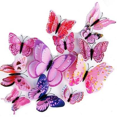 наклейки на стену 3D - бабочки бабочки розовое
