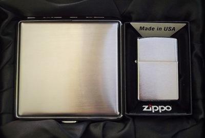 Zippo z200 Brush Хром + Портсигар + гравер