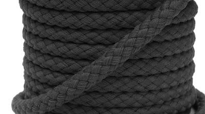 sznurek bawełniany knot pleciony 8mm 1m 7001 czarn