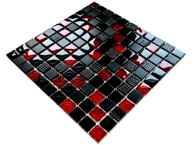 Мозаика СТЕКЛО Вулкан RED красная черная NERO