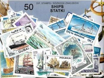 Zestaw 50 znaczków pocztowych - STATKI