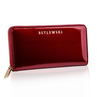 BETLEWSKI portfel damski lakierowany duży skóra