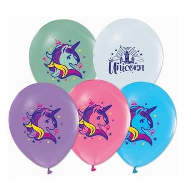 Воздушные шары на день Рождения с рисунком Единорог-5 штук