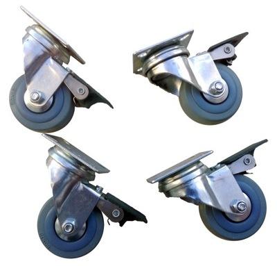 Tlaková umývačka - Súprava kolies 50 mm 4 ks šedá 160 KG brzda kolies
