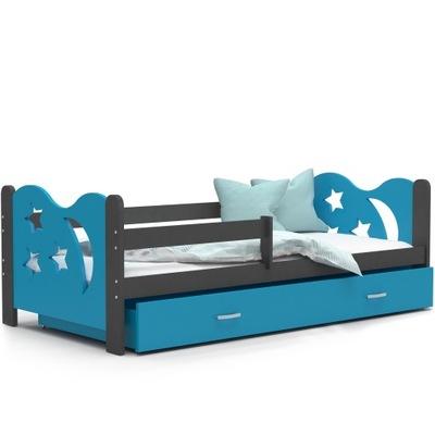 Posteľ MIKULÁŠA šedá modrá 190x80 + matrac