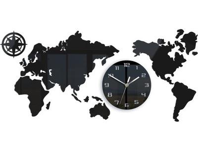 часы НА СТЕНУ КАРТА МИРА ТИХИЙ черная 80x40 СМ