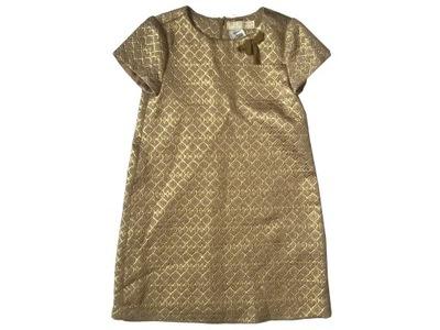 Zara sukienka złota 122 6-7 elegancka święta