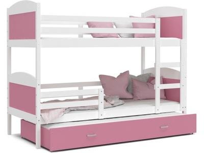 Poschodová posteľ MATÚŠ 3 biele, ružové a 190x80