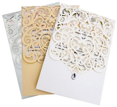 ZAPROSZENIA ślubne LASEROWE perłowe PRÓBKI
