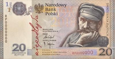 Банкноты 20  Независимость Пилсудский 2018 Папку