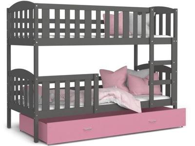 Poschodové postele 190x80 box MATRACE šedé-rose