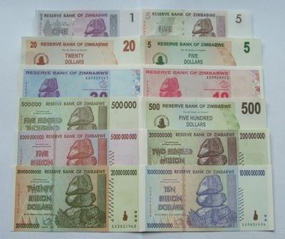 ZESTAW BANKNOTÓW ZIMBABWE - Z PACZKI BANKOWEJ