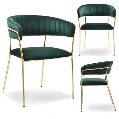 Krzesło MALE ZŁOTE welurowe na designerskim stelażu Mebel