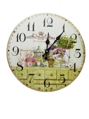 Okrúhle nástenné hodiny kuchyňa ročník 34 cm trávy