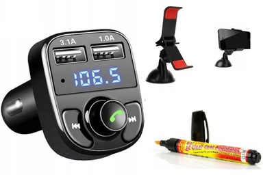TRANSMITER MP3 BLUETOOTH + UCHWYT + KREDKA NA RYSY