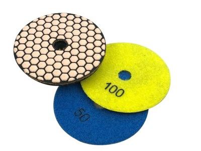 3 штук диск ПОЛИРОВАЛЬНИКОМ СУХОЙ керамогранит 100 - #50 #100 #200