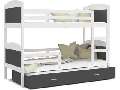 Poschodová posteľ evanjelium podľa MATÚŠA 3 biela sivá 200x90