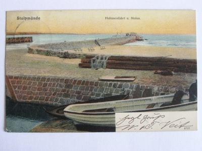 Ustka Stolpmuende Słupsk molo port 1905 lit.