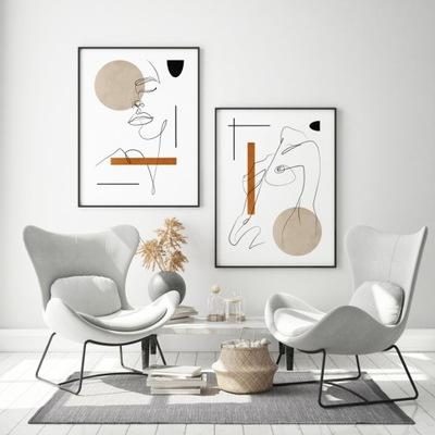 Plagáty Flamingo Toucan sada 2 grafiky 40x50 cm
